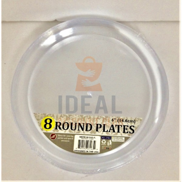CLEAR PS ROUND PLATE 6