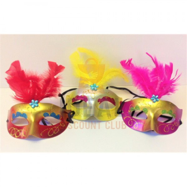 FANCY HOME & KITCHEN MASK W/FEATHERS ASRT.